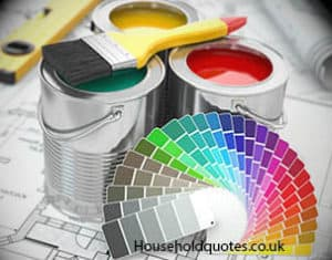Cans of paint with colour palette
