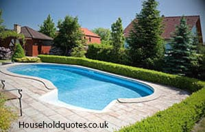 garden swimming pool with the deckchair