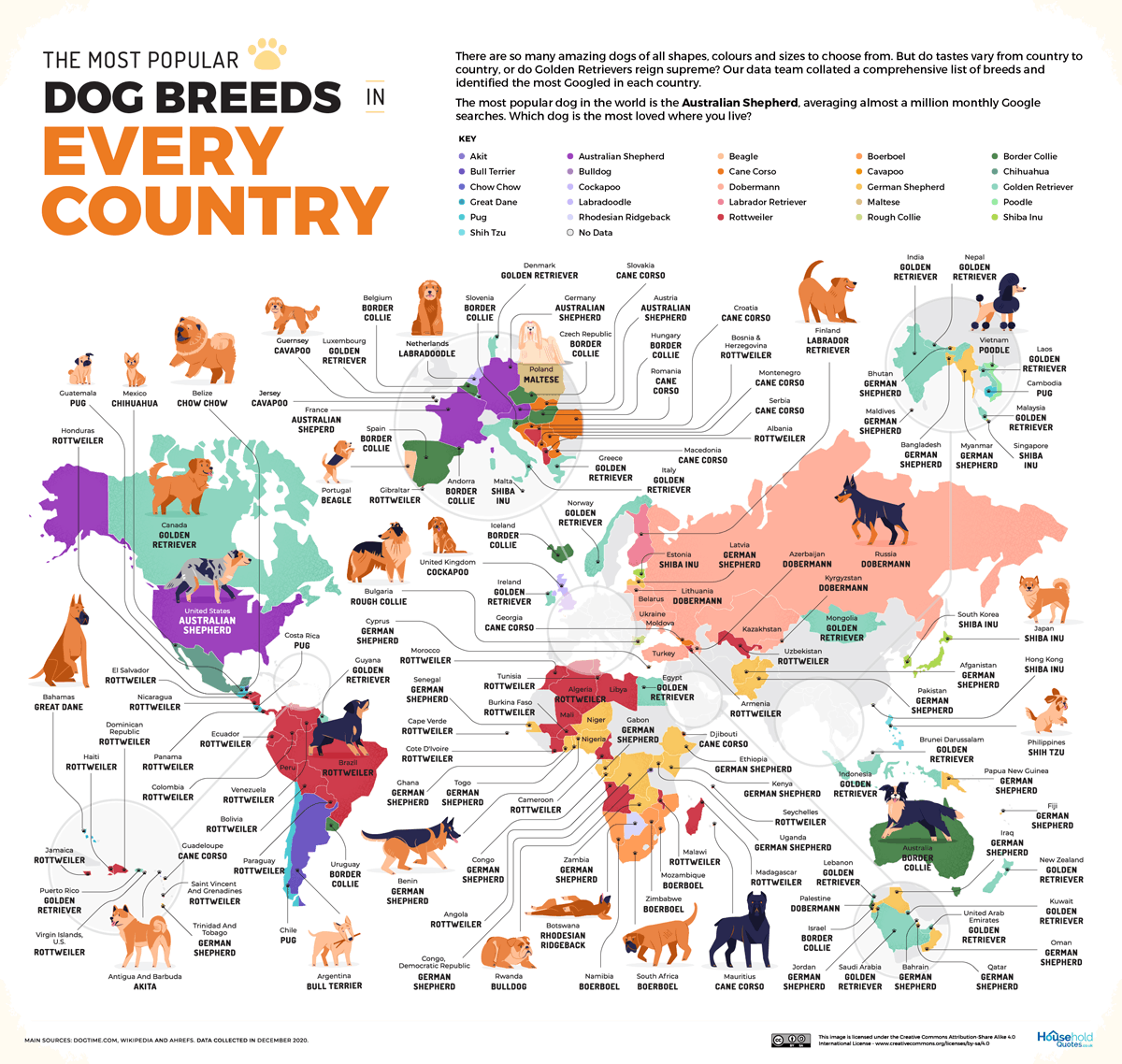 The Most Popular Dog Breed in Every Country [MAP]